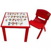 çocuk Masa Sandalye Takımı Kırmızı Alfabe 1 3 Yaş İçin
