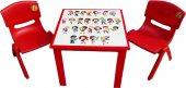 çocuk Masa Sandalye Takımı Kırmızı Alfabe 2s 1...