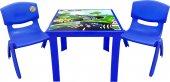 çocuk Masa Sandalye Takımı Mavi Araba 2s 1 3...