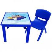 çocuk Masa Sandalye Takımı Mavi Karga 1 3 Yaş İçin