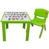 çocuk Masa Sandalye Takımı Yeşil Alfabe 1 3 Yaş...