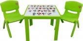 çocuk Masa Sandalye Takımı Yeşil Alfabe 2s 1 3...