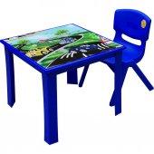çocuk Masa Sandalye Takımı Mavi Araba 1 3 Yaş İçin