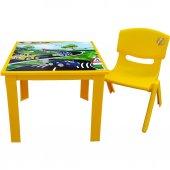 çocuk Masa Sandalye Takımı Sarı Araba 1 3 Yaş...