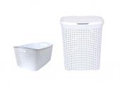 çamaşır Sepeti Ve Çamaşır Selesi Seti Beyaz Rattan Desenli