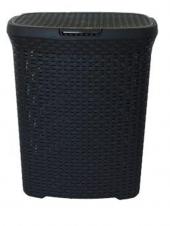 Kirli Çamaşır Sepeti Siyah Rattan Desenli