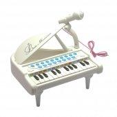 24 Tuşlu Oyuncak Mini Mikrofonlu Piyano Beyaz