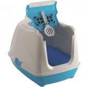Moderna Flip Cat Kapalı Kedi Tuvaleti Açık Mavi...