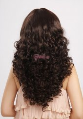 55cm uzun kahverengi kıvırcık peruk-2