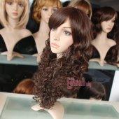 55cm uzun kahverengi kıvırcık peruk-3