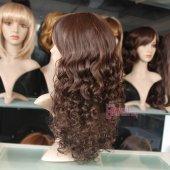 55cm uzun kahverengi kıvırcık peruk-4