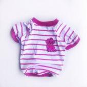 Pink Stripe Kitty Oval Yaka Tişört Kedi Kıyafeti Kedi Elbisesi