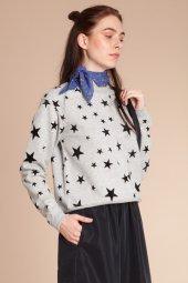 Star Yıldız Flok Baskılı Gri Sweatshirt 160267 1