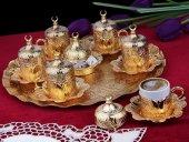 Osmanlı Motifli 6 Kişilik Türk Kahve Seti - Altın