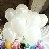 100 Adet Metalik Beyaz Balon Helyum 12 İnch Büyük Balon