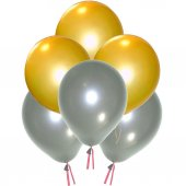 Gold Ve Silver Metalik 100 Adet Helyum Balon