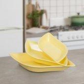 Renkli Yaprak Kahvaltılık Tabak Seti Sarı