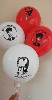 100 Adet Kırmızı Beyaz Renkli Atatürk Baskılı...