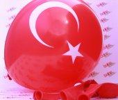 10 Adet Türk Bayrağı Baskılı Kırmızı Balona Ay...