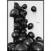 Beyaz Ve Siyah Balon Sedefli Metalik Balon