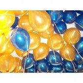 Altın Ve Mavi Balon 100 Adet Helyum Uyumlu Balon