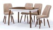 Side Ceviz Açılır Mutfak Masa Sandalye Takımı,mutfak Masası