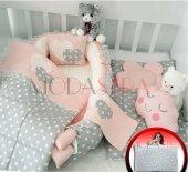 Modastra Babynest Gri Ve Somon Tasarım Lüx Baby Nest