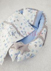 Modastra Mavi Kelebekli Model Babynest Ve Pike Takımı