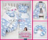 Modastra Babynest Mavi Bulutlu Lüx Baby Nest Bebek Uyku Seti