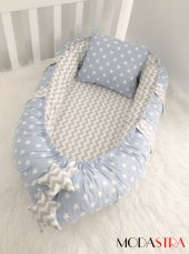 Modastra Babynest Mavi Ve Gri Zigzag Kombin Lüx Baby Nest