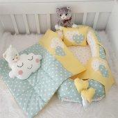 Modastra Babynest Yeşil Sarı Yıldızlı Özel Tasarım Baby Nest Set