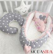 Modastra Babynest Gri Yıldızlı Baby Nest Ve Emzirme Yastığı Set