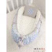 Modastra Babynest Mavi Yıldızlı Gri Özel Tasarım Lüx Baby Nest