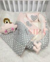 Modastra Babynest Gri Yıldız Tasarım Baby Nest Seti Bulut Yastık