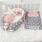 Modastra Babynest Gri Yıldızlı Lüx Bebek Uyku Seti Baby Nest