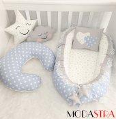 Modastra Babynest Mavi Yıldız Emzirme Yastığı Ve Baby Nest Set