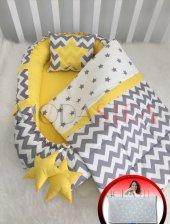 Modastra Babynest Gri Zigzag Sarı Tasarım Lüx Baby Nest