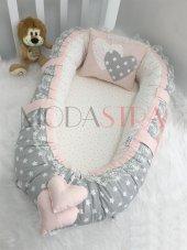 Modastra Babynest Gri Ve Pembe Yıldız Kombin Lüx Baby Nest