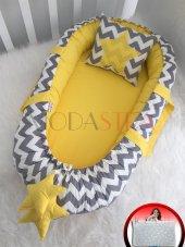 Modastra Babynest Gri Zigzag Ve Sarı Kombin Lüx Baby Nest