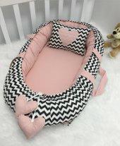 Modastra Babynest Siyah Zigzag Ve Pudra Kombin Lüx Baby Nest