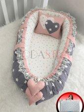 Modastra Babynest Gri Ve Pudra Yıldızlı Kombin Lüx Baby Nest