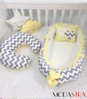 Modastra Babynest Gri Zigzaglı Baby Nest Emzirme Yastığı 5li Set
