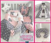 Modastra Babynest Gri Yıldız Desenli Lüx Baby Nest Bebek Uyku Set