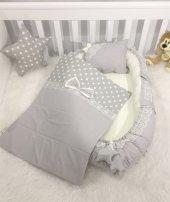 Modastra Babynest Gri Yıldız Desenli Baby Nest Bebek Uyku Seti