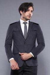 Kapitone Dikişli Velvet Gri Ceket | Wessi