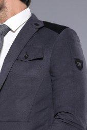 Kapitone Dikişli Velvet Gri Ceket | Wessi-2