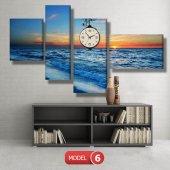 deniz manzara tablosu- saatli kanvas tablo MODEL 6 - 184x107 cm
