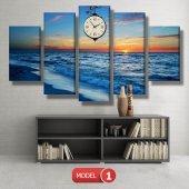 deniz manzara tablosu- saatli kanvas tablo MODEL 6 - 184x107 cm-2