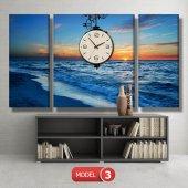 deniz manzara tablosu- saatli kanvas tablo MODEL 6 - 184x107 cm-4