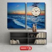 deniz manzara tablosu- saatli kanvas tablo MODEL 6 - 184x107 cm-6